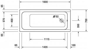 Ropox compact hoog-laag bad afmeting 160x70cm