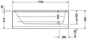 Ropox compact hoog-laag bad afmeting 170x75cm - hoogtes