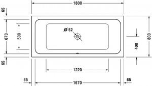 Ropox compact hoog-laag bad afmeting 180x80cm