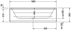 Ropox compact hoog-laag bad afmeting 180x80cm - hoogtes